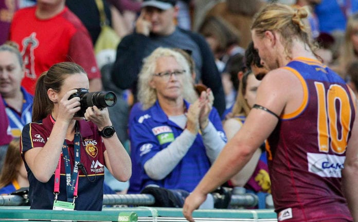 Photographer at Brisbane Lions game