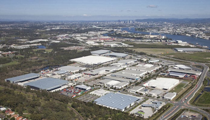 Aerial view of Amazon work site in Brisbane