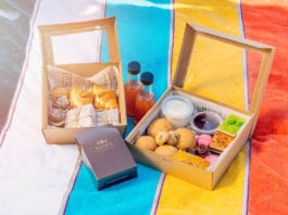 Colourful picnic blanket with high tea