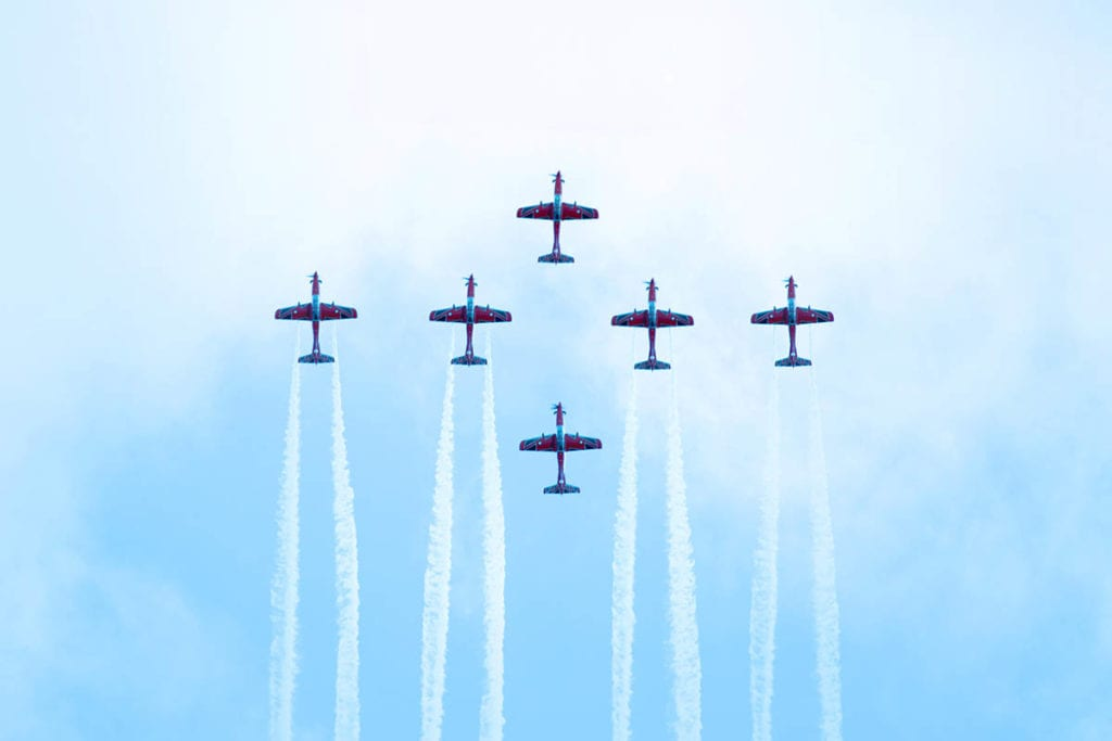 Planes during an airshow