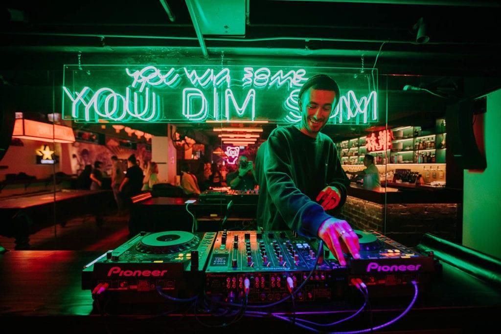 a DJ playing