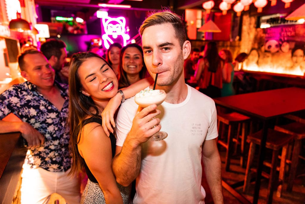 revellers at bar