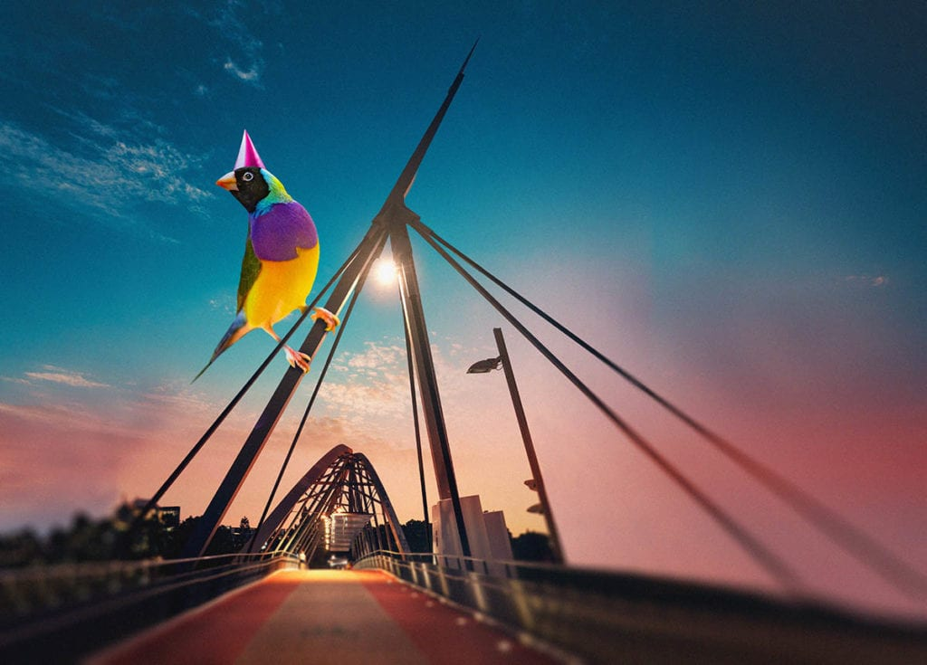 Giant bird on a bridge