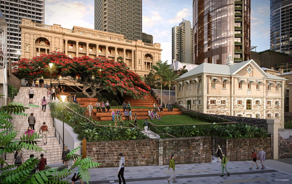 Artist's render of heritage works at Queen's Wharf