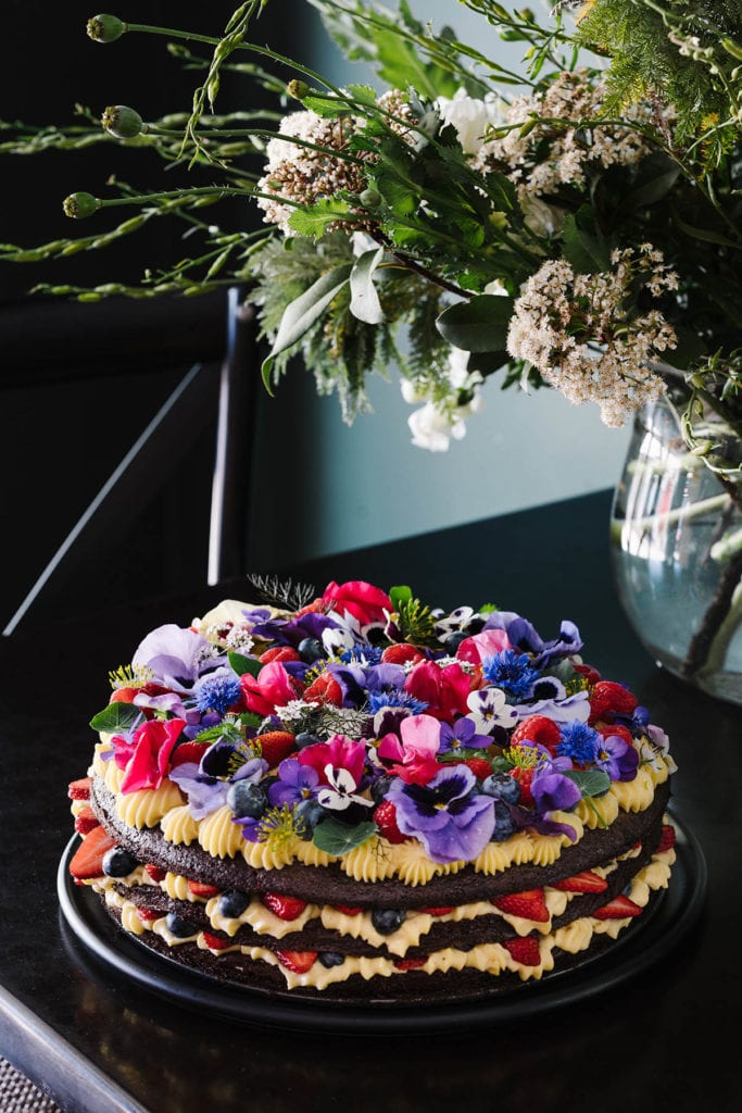Cake with flowers on top