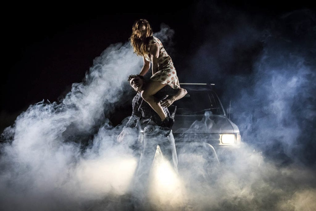Stage performers with car