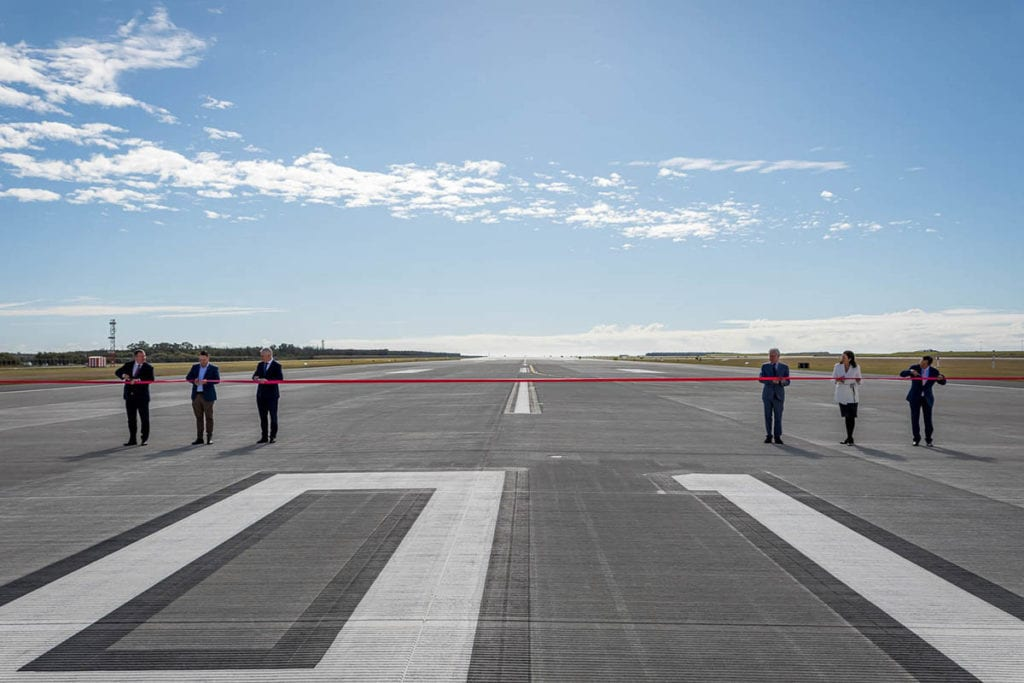 Ribbin cutting on airpirt runway