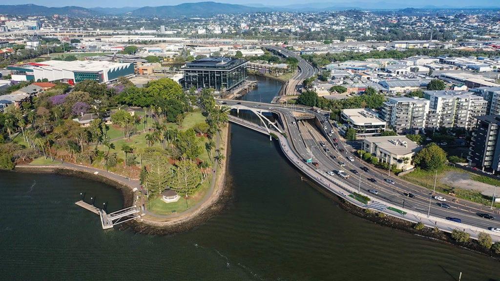 Aerial artist impression of pedestrian bridge