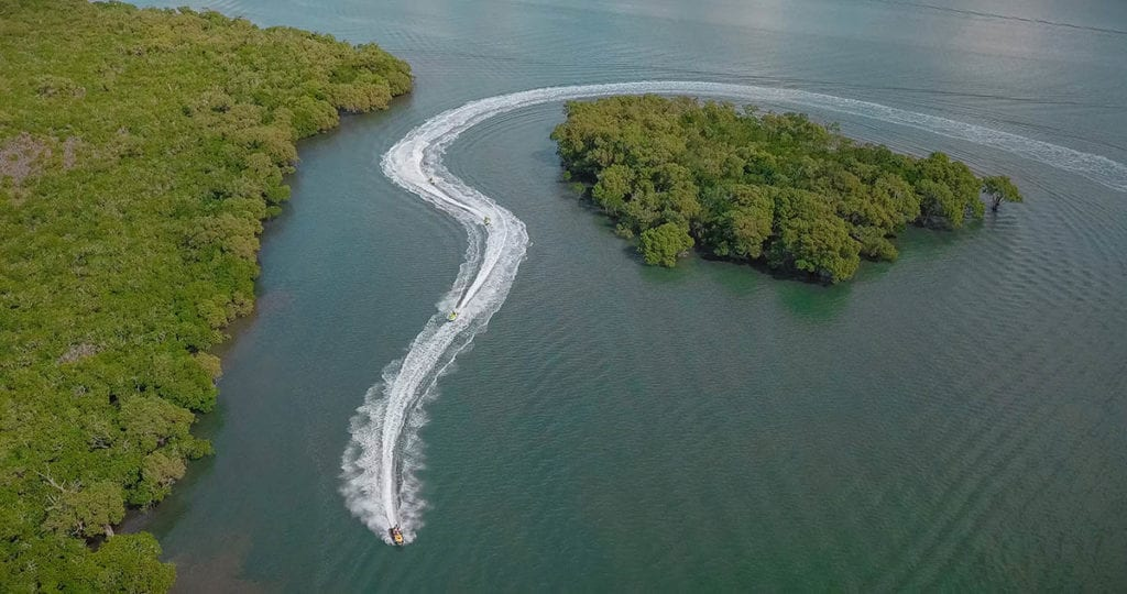 Jet ski and tiny island