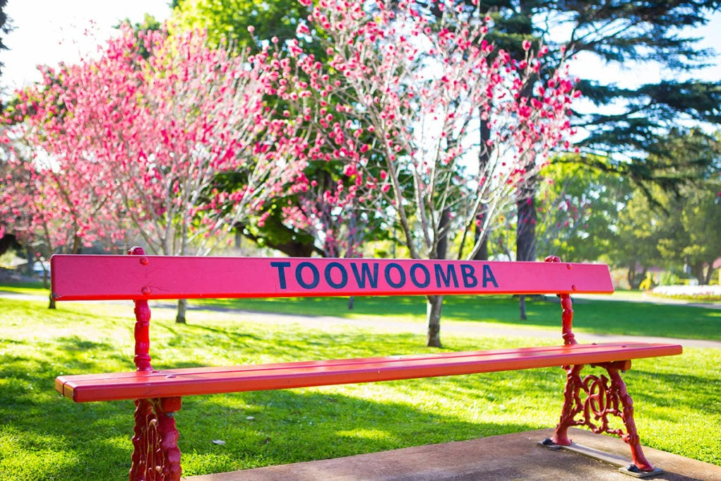Brightly coloured parke bench