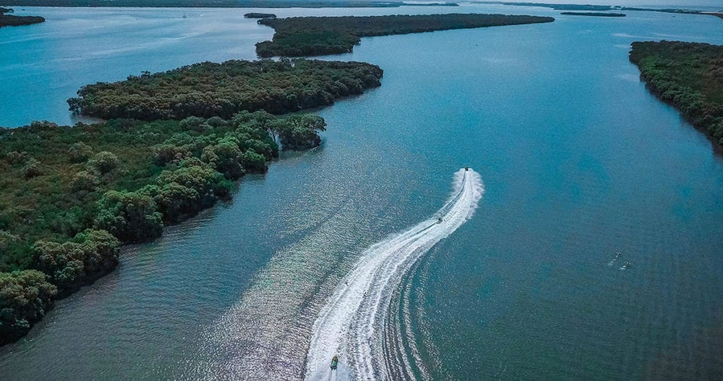 Drone shot Jet ski on waterway