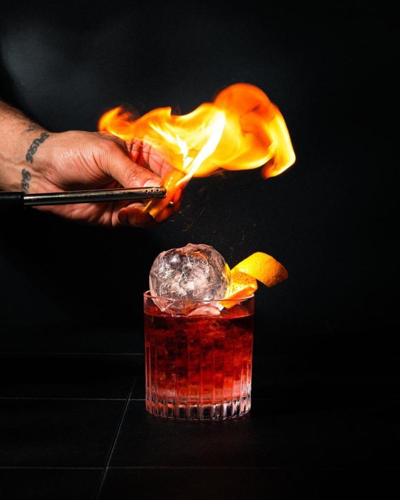 Kill Bill flaming negroni cocktail