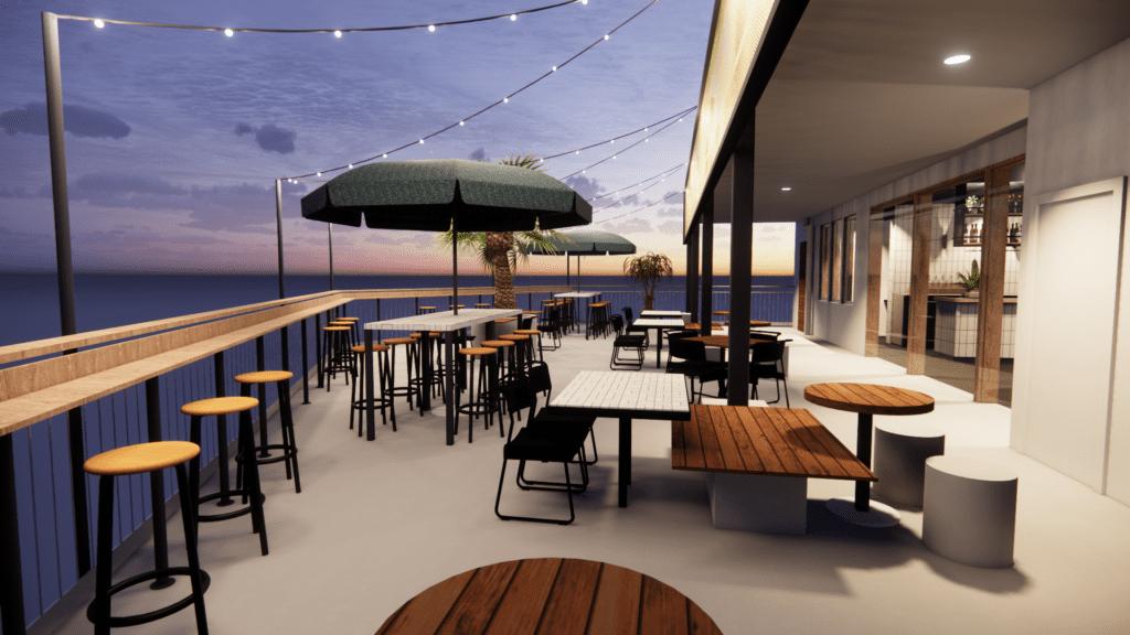 Will & Flow outdoor deck facing river