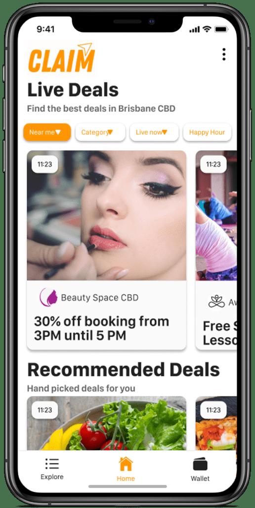 claim app home screen deals