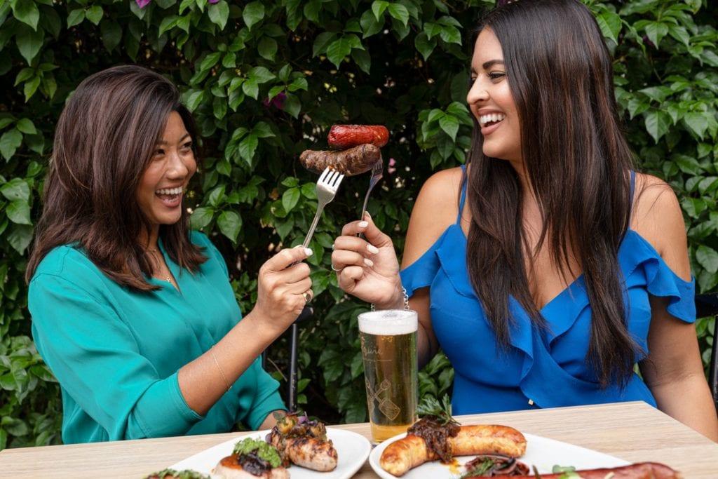 Winnie Le & Anjali Raj enjoy gourmet sausages