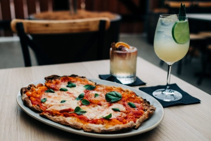 margharita pizza and ginger and rhubarb spritz